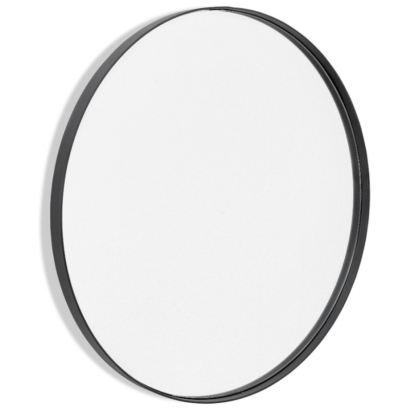 Metal round design mirror (60.5 cm) PRISKA (black)