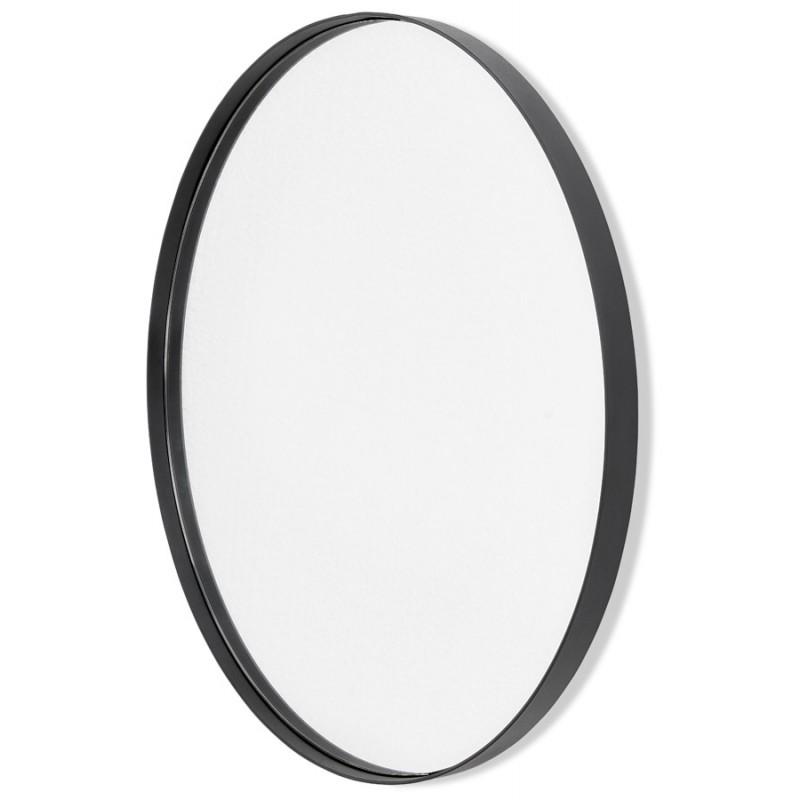Metal round design mirror (60.5 cm) PRISKA (black) - image 48600