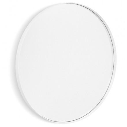 Espejo de diseño redondo metálico (60,5 cm) PRISKA (blanco)