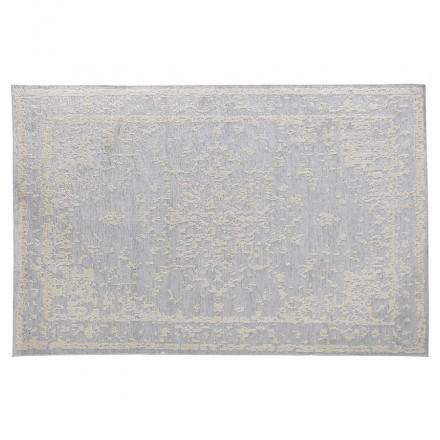 Tapis bohème rectangulaire - 160x230 cm - en laine  SHANON (gris clair)