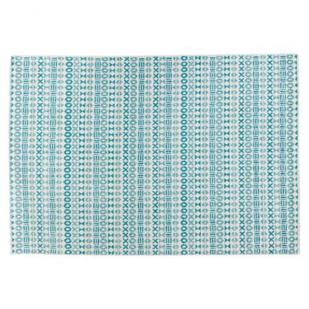 Tapis graphique rectangulaire - 160x230 cm - SELINA (bleu)