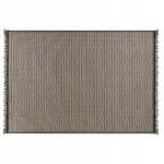 Rechteckiger ethnischer Teppich - 160x230 cm - PIERRETTE (schwarz, beige)