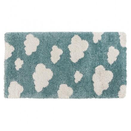 Alfombra rectangular para niños - 80x150 cm - NUAGE (azul, beige)