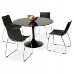 Table à manger ronde en verre et métal (Ø 120 cm) URIELLE (noir)