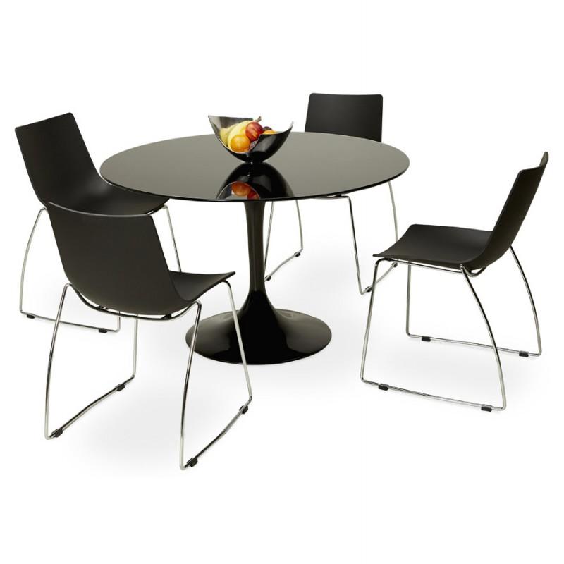 Mesa redonda de vidrio y mesa de comedor metálica (120 cm) URIELLE (negro) - image 48753