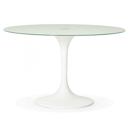Runder Esstisch aus Glas und Metall (120 cm) URIELLE (weiß)