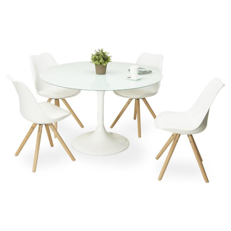 Table à manger ronde en verre et métal (Ø 120 cm) URIELLE (blanc) - image 48762