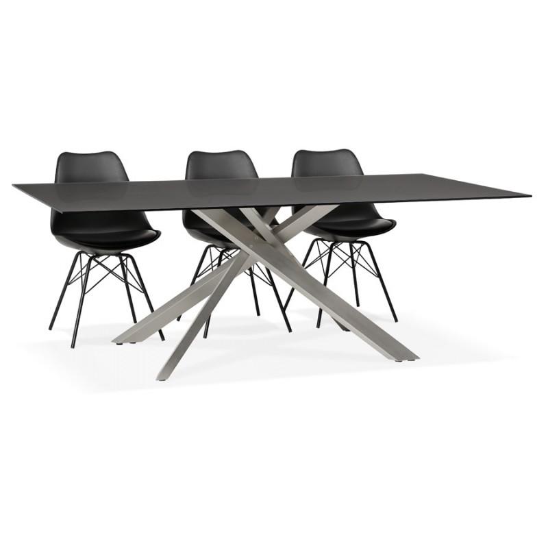 Mesa de comedor de diseño de vidrio y metal (200x100 cm) WHITNEY (negro) - image 48779
