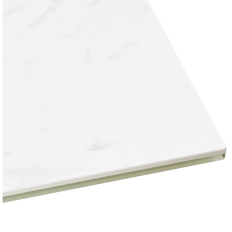 Table à manger design en céramique et métal acier brossé (180x90 cm) FLORINA (blanc) - image 48795