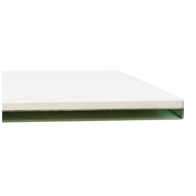 Table à manger design en céramique et métal acier brossé (180x90 cm) FLORINA (blanc) - image 48796