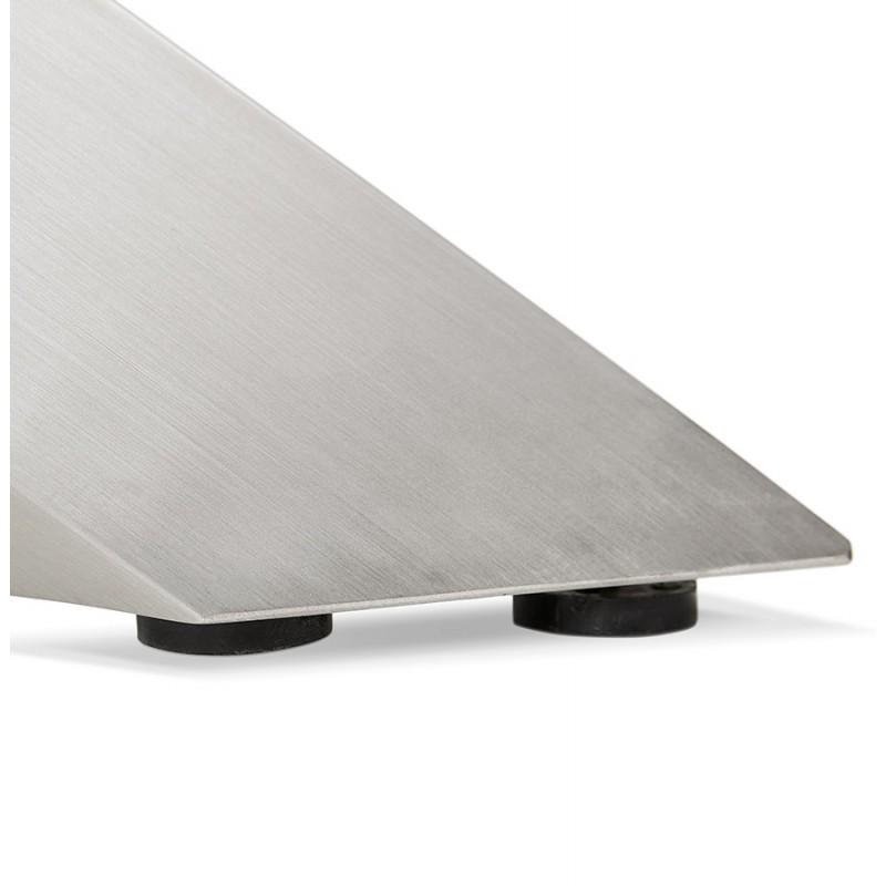 Table à manger design en céramique et métal acier brossé (180x90 cm) FLORINA (blanc) - image 48801
