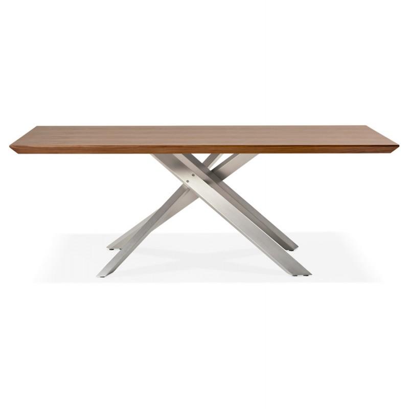 Table à manger design en bois et métal acier brossé (200x100 cm) CATHALINA (noyer) - image 48803