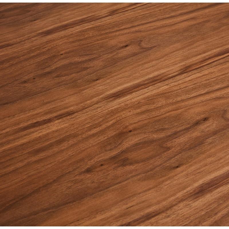 Table à manger design en bois et métal acier brossé (200x100 cm) CATHALINA (noyer) - image 48807
