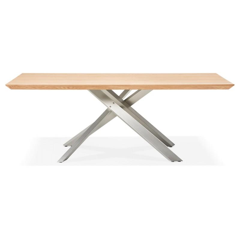 Table à manger design en bois et métal acier brossé (200x100 cm) CATHALINA (finition naturelle) - image 48814