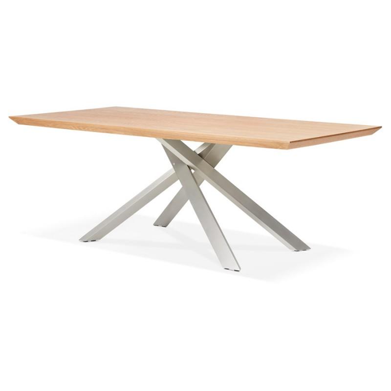 Table à manger design en bois et métal acier brossé (200x100 cm) CATHALINA (finition naturelle) - image 48816