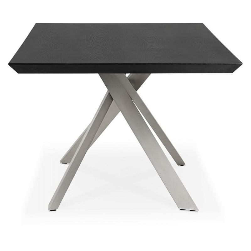 Table à manger design en bois et métal acier brossé (200x100 cm) CATHALINA (noir) - image 48826