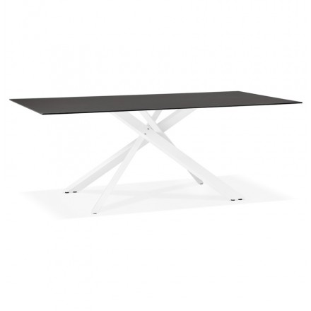 Glass and white metal design dining table (200x100 cm) WHITNEY (black)