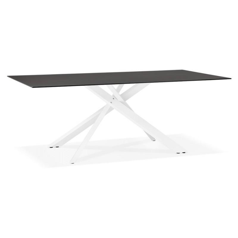 Table à manger design en verre et métal blanc (200x100 cm) WHITNEY (noir)
