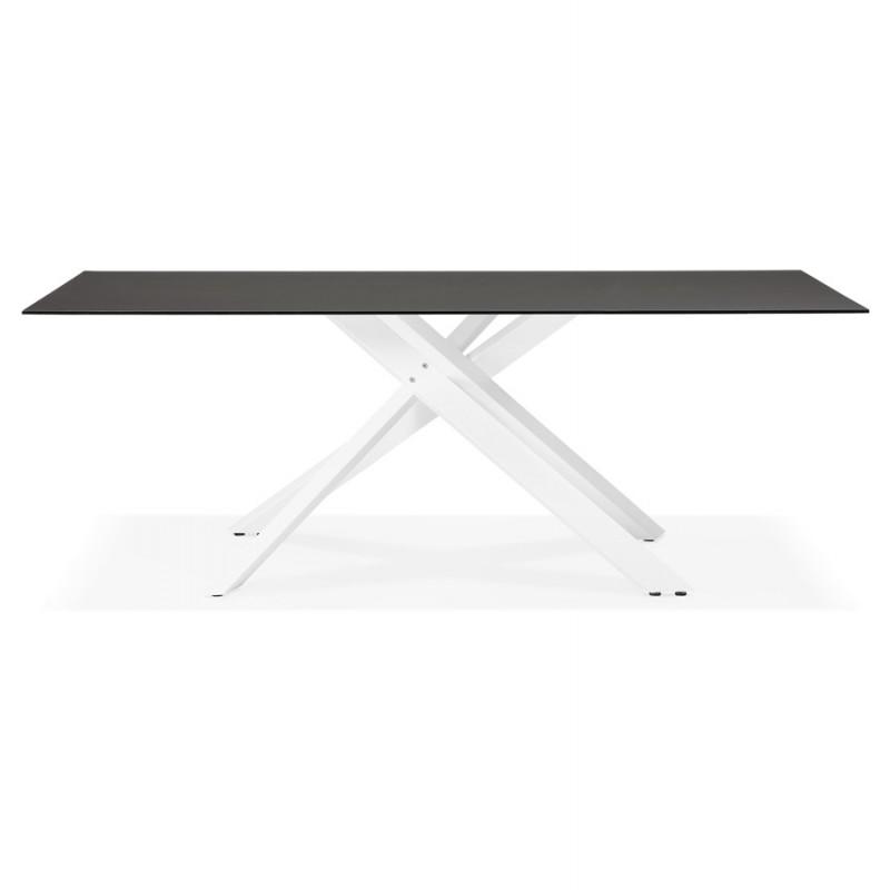 Mesa de comedor de diseño de vidrio y metal blanco (200x100 cm) WHITNEY (negro) - image 48835