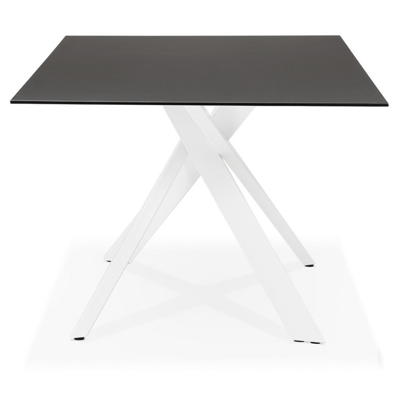 Mesa de comedor de diseño de vidrio y metal blanco (200x100 cm) WHITNEY (negro) - image 48836