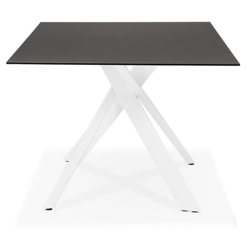 Glas- und Weißmetall-Design Esstisch (200x100 cm) WHITNEY (schwarz) - image 48836