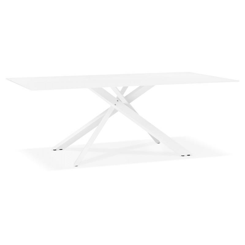 Diseño de vidrio y metal blanco (200x100 cm) WHITNEY (blanco)