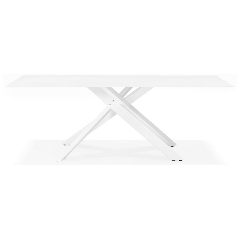 Table à manger designen verre et métal blanc (200x100 cm) WHITNEY (blanc) - image 48846