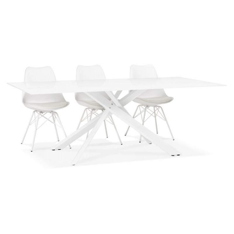 Table à manger designen verre et métal blanc (200x100 cm) WHITNEY (blanc) - image 48854
