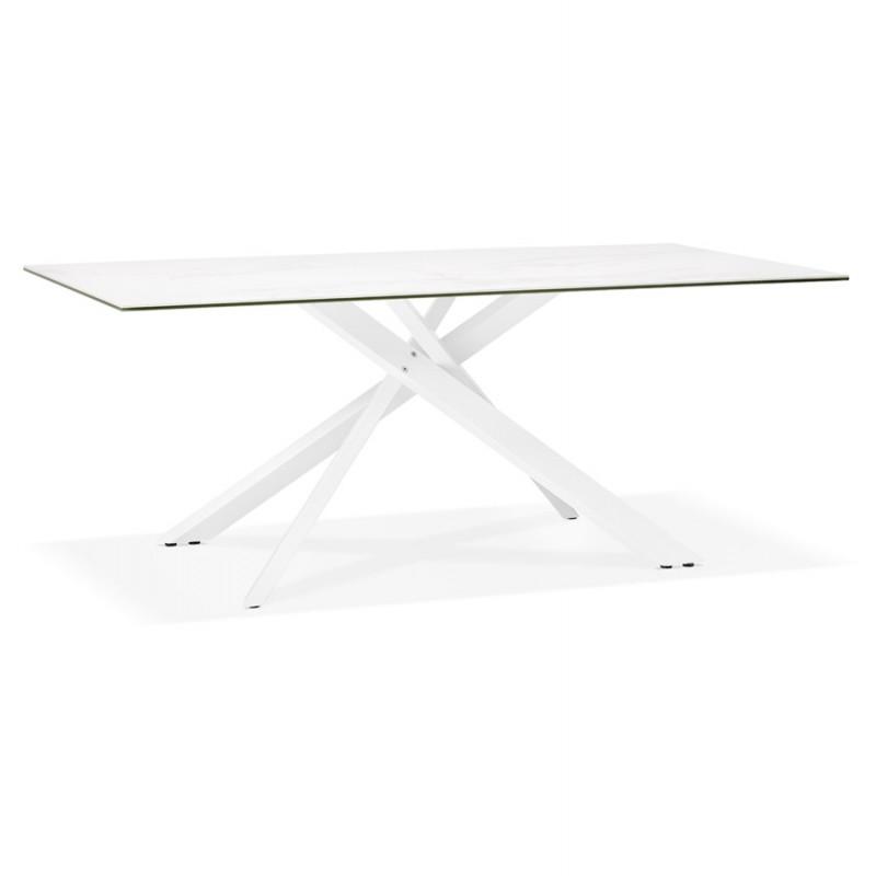 Table à manger designen céramique et métal blanc (180x90 cm) FLORINA (blanc)