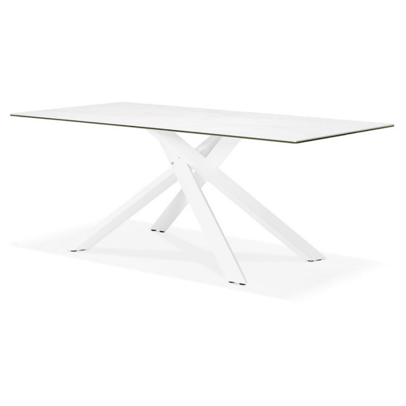 Table à manger designen céramique et métal blanc (180x90 cm) FLORINA (blanc) - image 48859