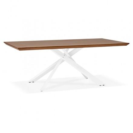 Table à manger design en bois et métal blanc (200x100 cm) CATHALINA (noyer)