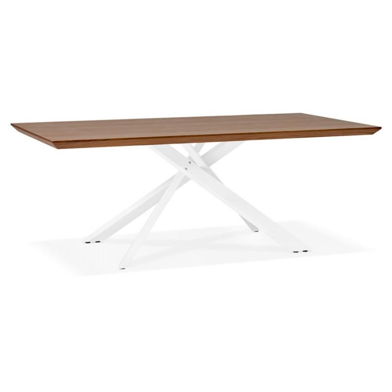 Table à manger design en bois et métal blanc (200x100 cm) CATHALINA (noyer) - image 48866