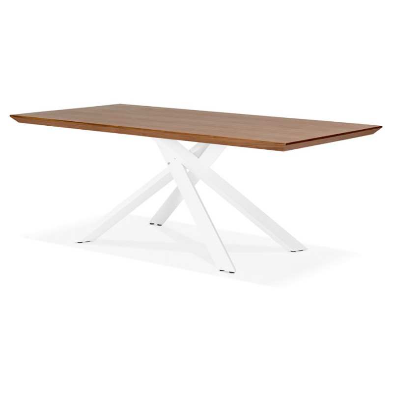 Table à manger design en bois et métal blanc (200x100 cm) CATHALINA (noyer) - image 48869