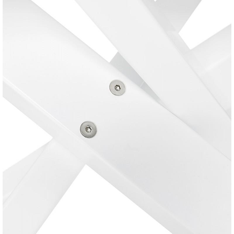 Table à manger design en bois et métal blanc (200x100 cm) CATHALINA (noyer) - image 48873