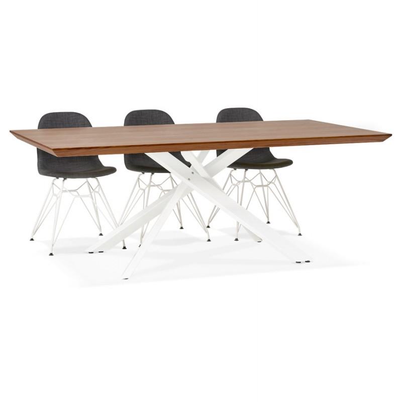 Table à manger design en bois et métal blanc (200x100 cm) CATHALINA (noyer) - image 48875