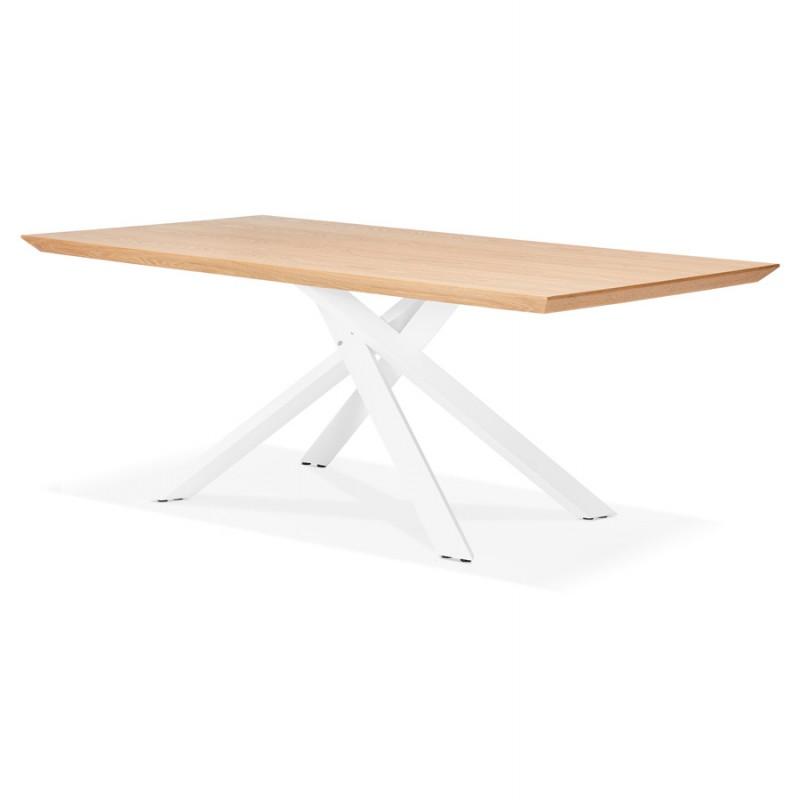 Mesa de comedor de diseño de madera y metal blanco (200x100 cm) CATHALINA (acabado natural) - image 48879