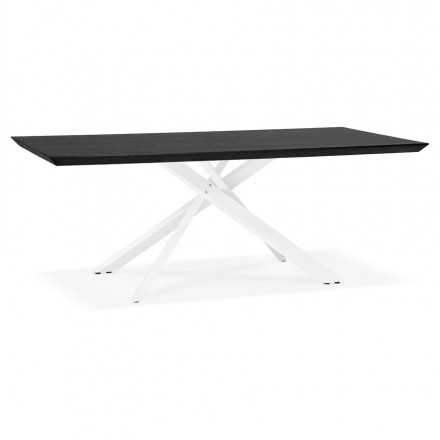 Wooden and white metal design dining table (200x100 cm) CATHALINA (black)