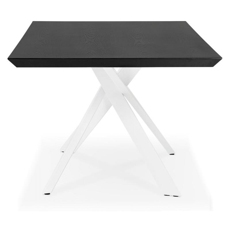 Mesa de comedor de diseño de madera y metal blanco (200x100 cm) CATHALINA (negro) - image 48884