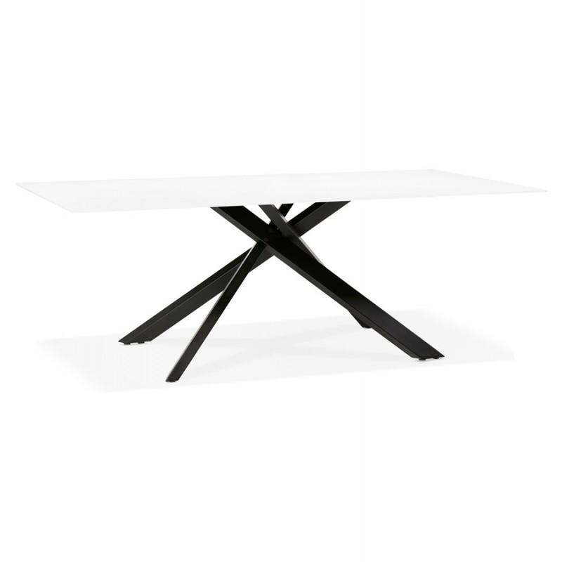Table à manger design en verre et métal noir (200x100 cm) WHITNEY (blanc)