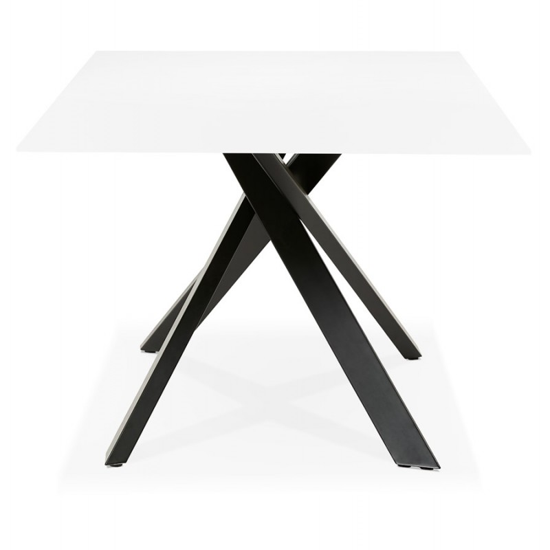 Mesa de comedor de diseño de vidrio y metal negro (200x100 cm) WHITNEY (blanco) - image 48903