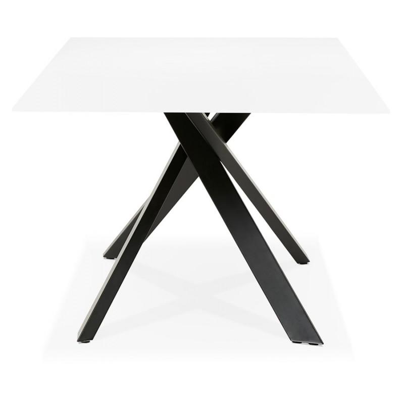 Table à manger design en verre et métal noir (200x100 cm) WHITNEY (blanc) - image 48903