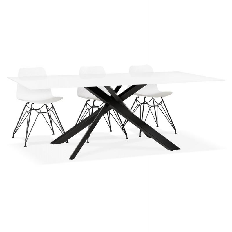 Table à manger design en verre et métal noir (200x100 cm) WHITNEY (blanc) - image 48910