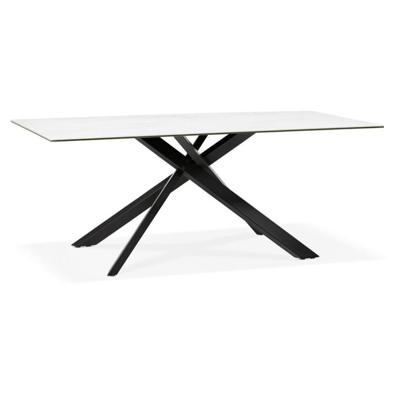Mesa de comedor de diseño cerámico y negro metálico (180x90 cm) FLORINA (blanco)