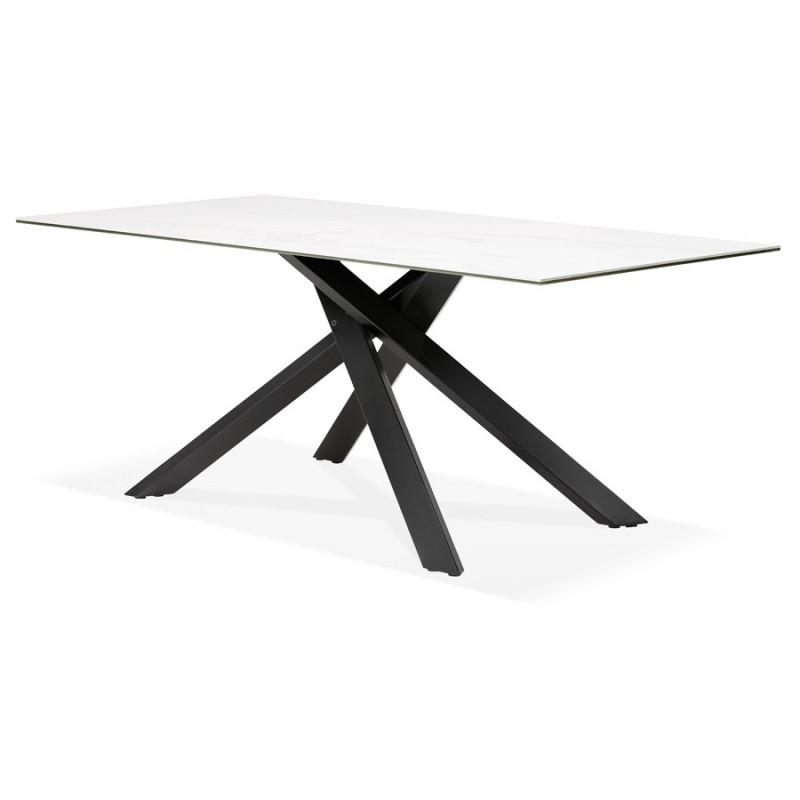 Table à manger design en céramique et métal noir (180x90 cm) FLORINA (blanc) - image 48914