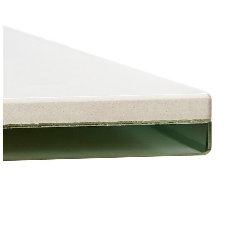 Table à manger design en céramique et métal noir (180x90 cm) FLORINA (blanc) - image 48917