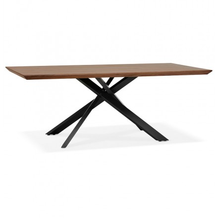 Wooden and black metal design dining table (200x100 cm) CATHALINA (drowning)