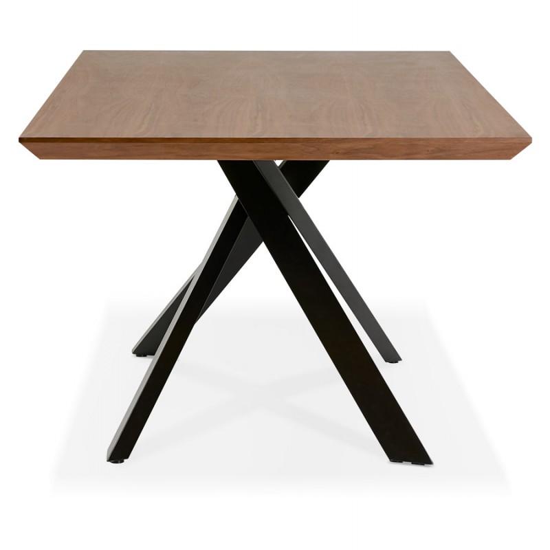 Table à manger design en bois et métal noir (200x100 cm) CATHALINA (noyer) - image 48923