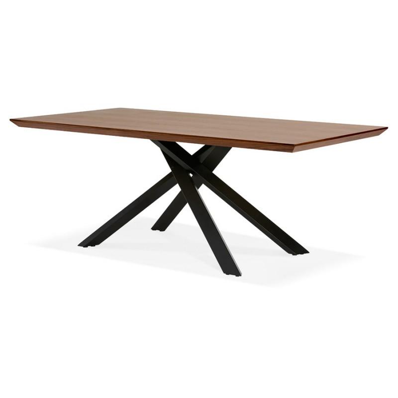 Table à manger design en bois et métal noir (200x100 cm) CATHALINA (noyer) - image 48924