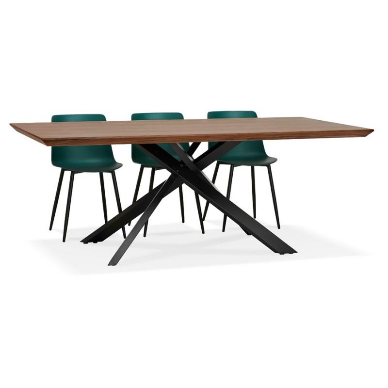 Table à manger design en bois et métal noir (200x100 cm) CATHALINA (noyer) - image 48931