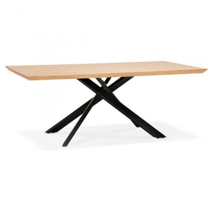 Table à manger design en bois et métal noir (200x100 cm) CATHALINA (finition naturelle)